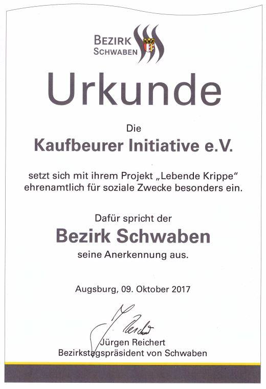 , Urkunde vom Bezirk Schwaben